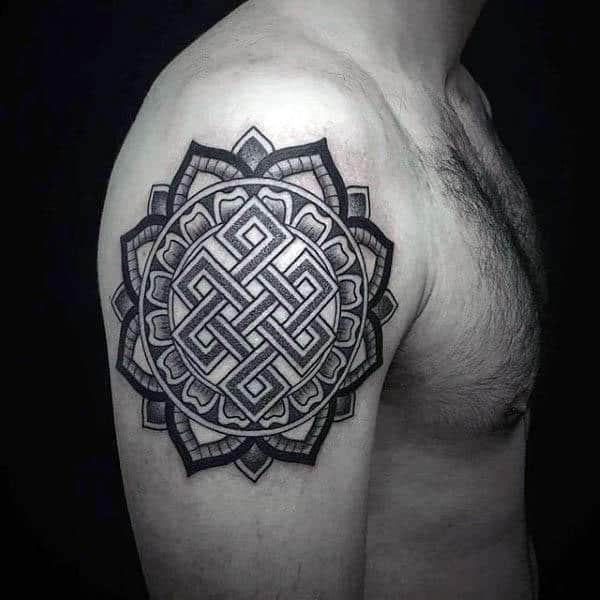 Floral Upper Arm Endless Knot Tattoos For Guys