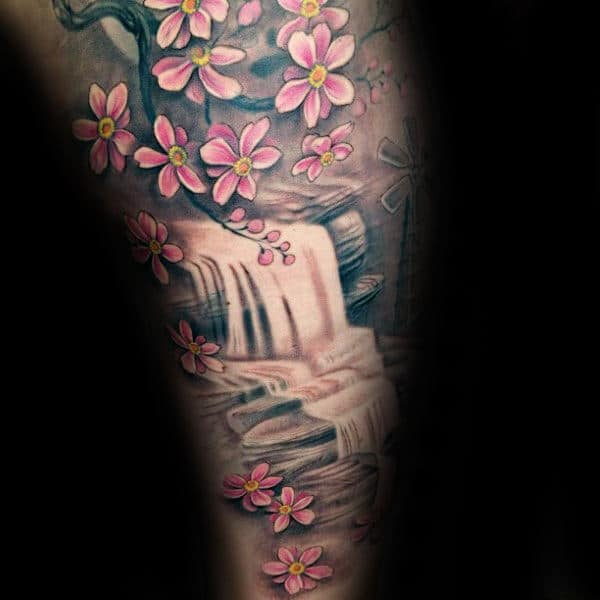 Floral Waterfall Mens Arm Sleeve Tattoo
