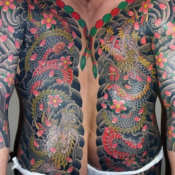 Flordal Japanese Guys Full Chest Dragon Tattoos