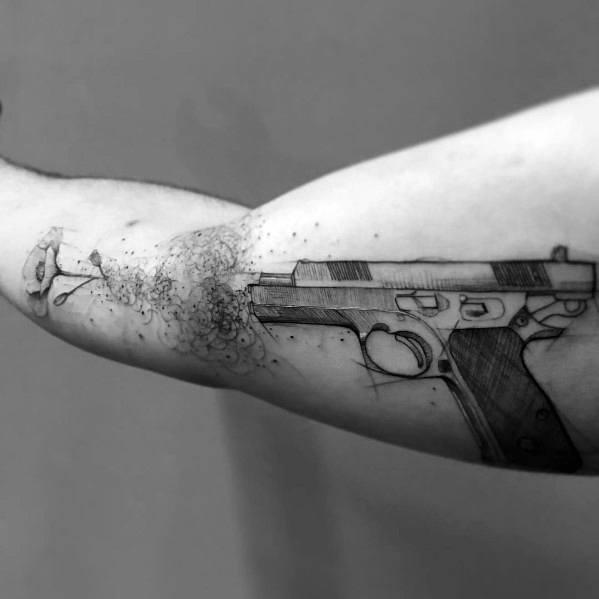 Flower 1911 Themed Tattoo Ideas For Men