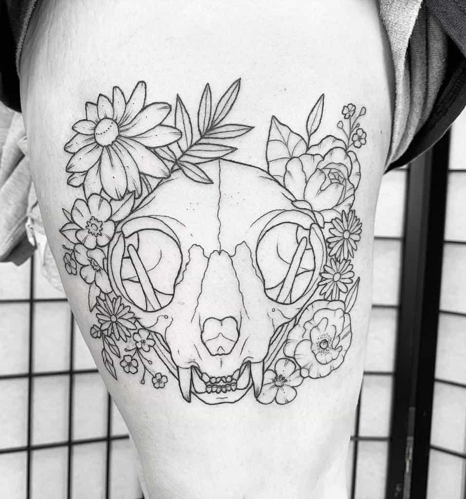 flower cat skull tattoo amandakoztattoos