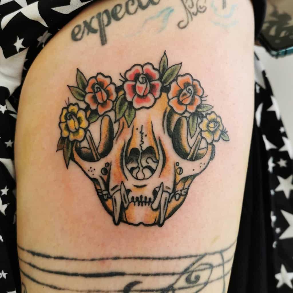 flower cat skull tattoo evie_tattootide