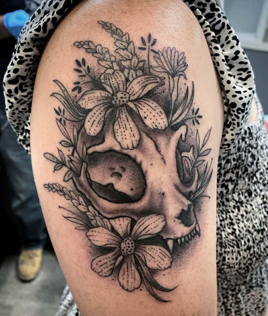 flower cat skull tattoo fortys4life