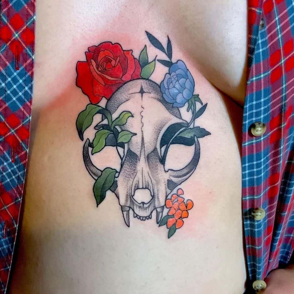 flower cat skull tattoo jocelynstellatattoo
