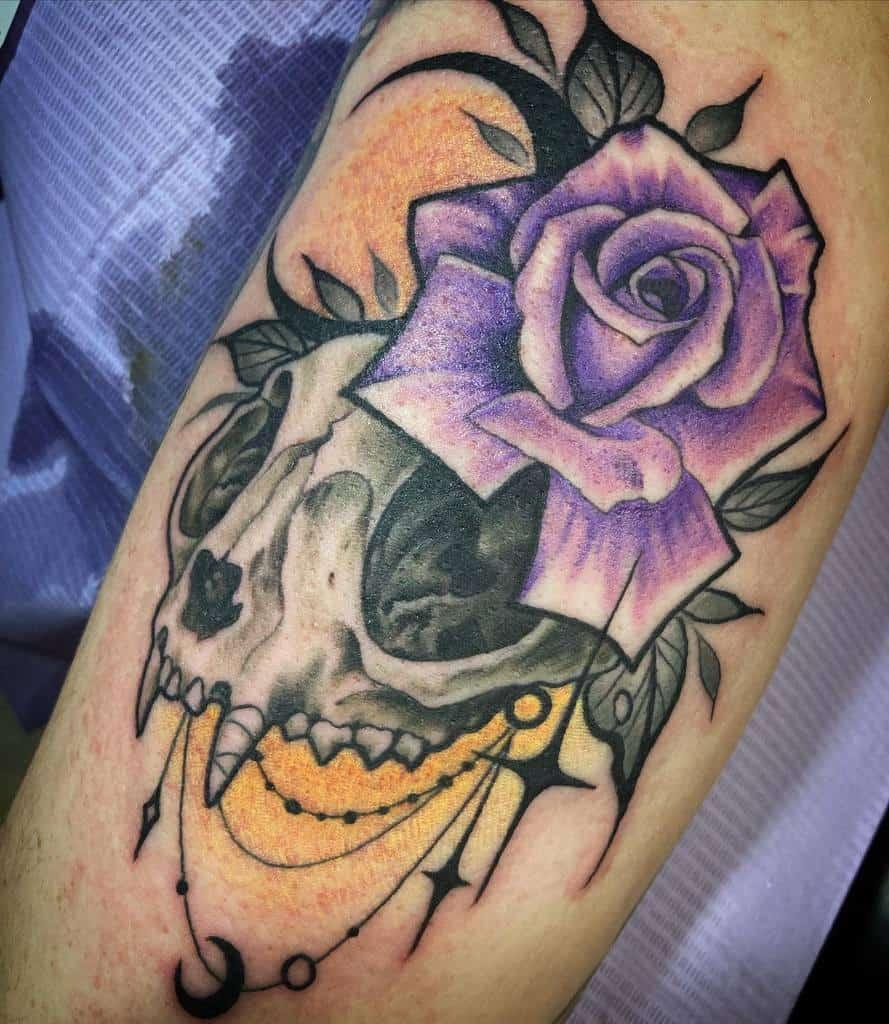flower cat skull tattoo sammiestattoostudio