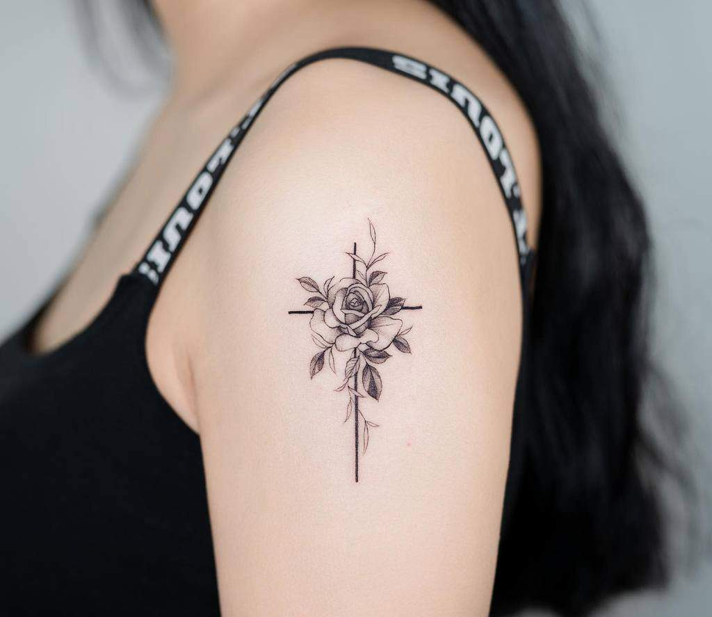 flower cross tattoos for women bery_forestink