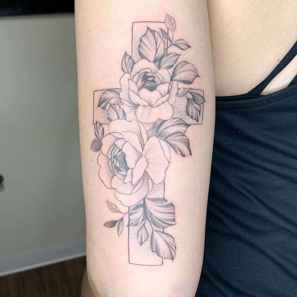 flower cross tattoos for women cz_tattoos