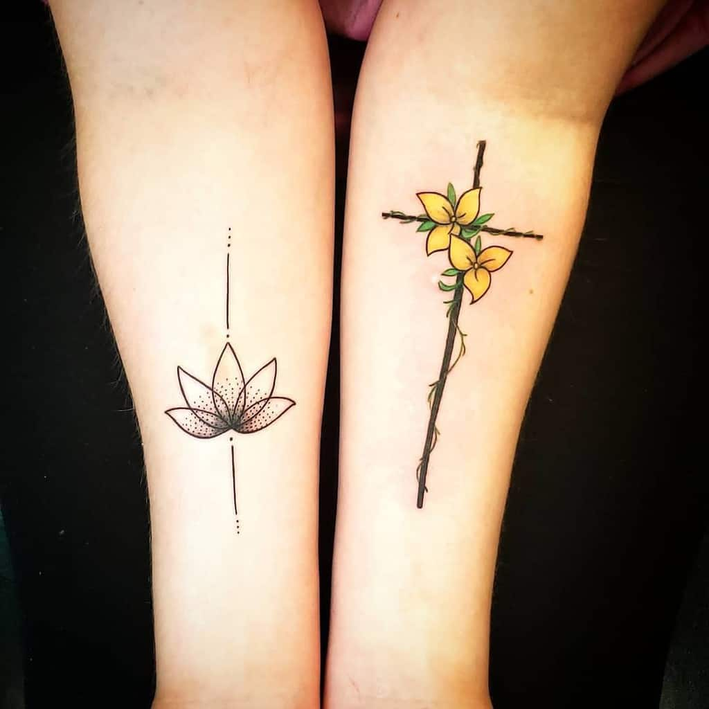 flower cross tattoos for women pinupsandneedles