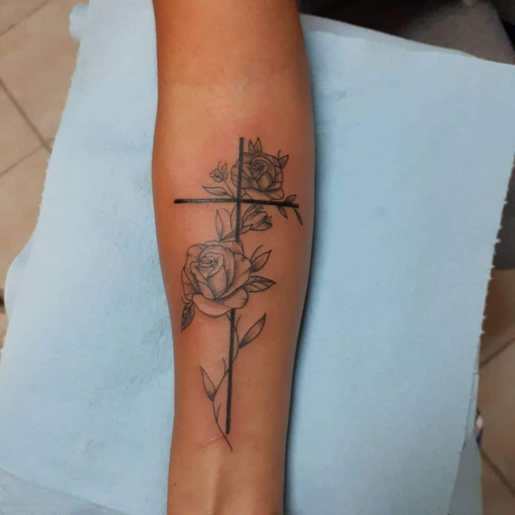 flower cross tattoos for women waltdizal
