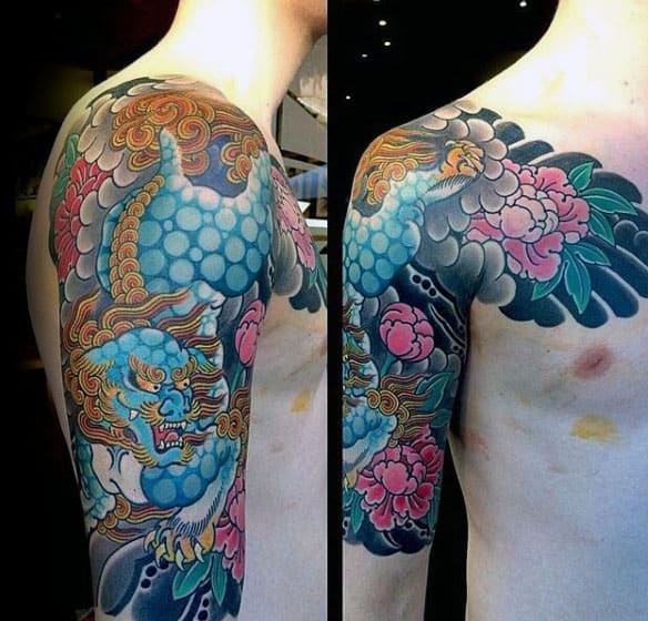 Flower Foo Dog Mens Half Sleeve Japanese Tattoo Ideas