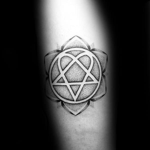 Flower Heartagram Dotwork Negative Space Tattoos For Guys