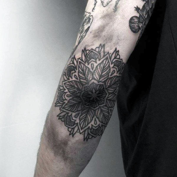 Flower Linework Elbow Tattoo Designs For Guys