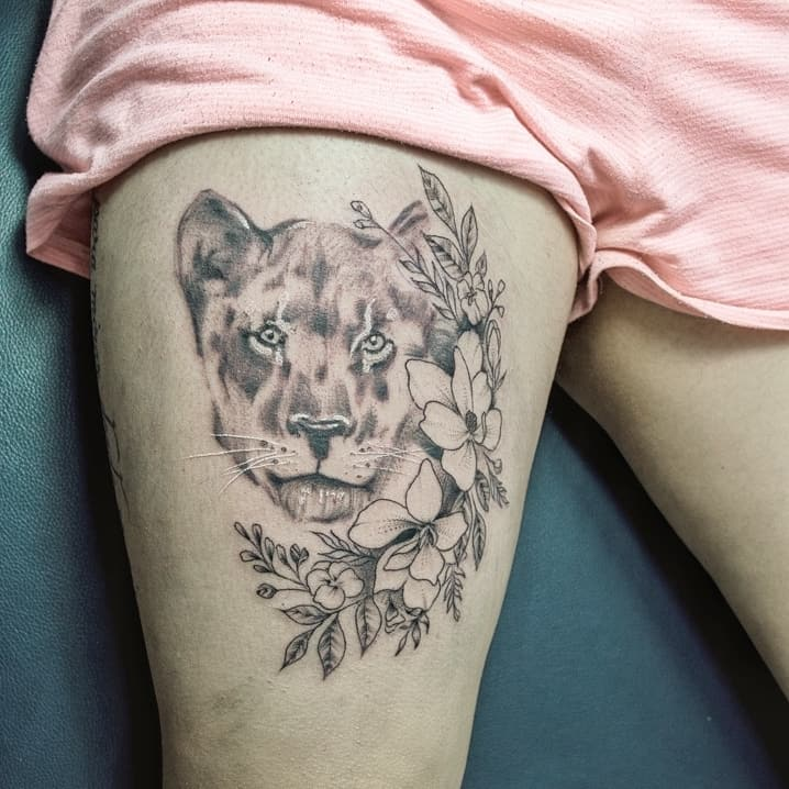 Flower Lioness Tattoo