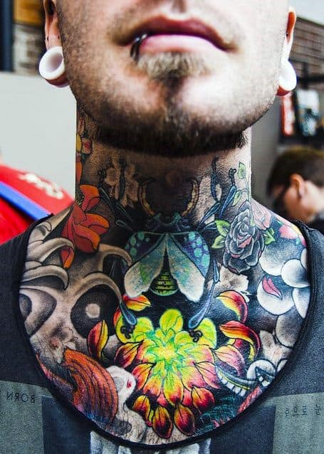 Flower Neck Tattoos Designs