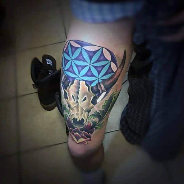 Flower Of Life Colorful Taurus Bull Skull Male Tattoo Design On Thigh Of Leg