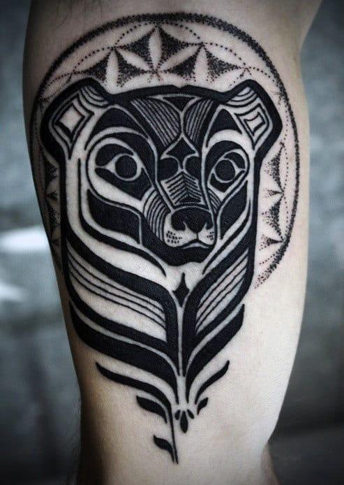 Flower Of Life Geometric Bear Mens Inner Arm Tattoos