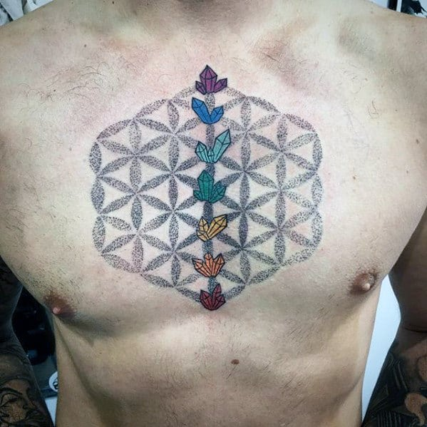 Flower Of Life Geometric Crystal Pattern Male Upper Chest Tattoo Designs