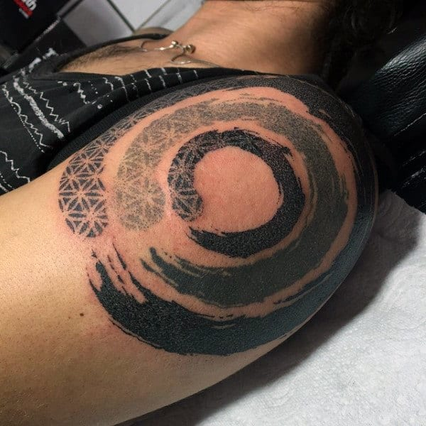 Flower Of Life Mens Pattern Enso Upper Arm Tattoo