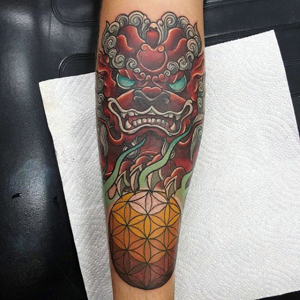 Flower Of Life Mens Red Ink Foo Dog Forearm Tattoos
