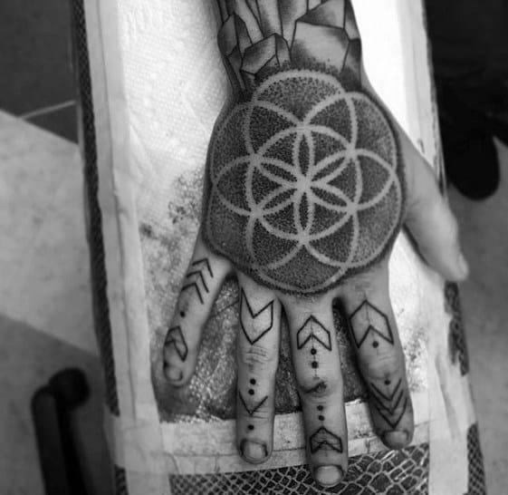Flower Of Life Negative Space Dotwork Creative Geometric Hand Tattoos For Men