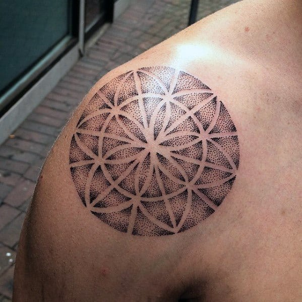 Flower Of Life Simple Star Geometric Dotwork Guys Shoulder Tattoo