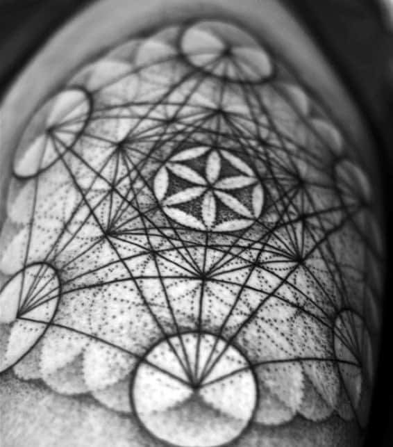Flower Of Life With Fibonacci Spiral Mens Geometric Tattoos