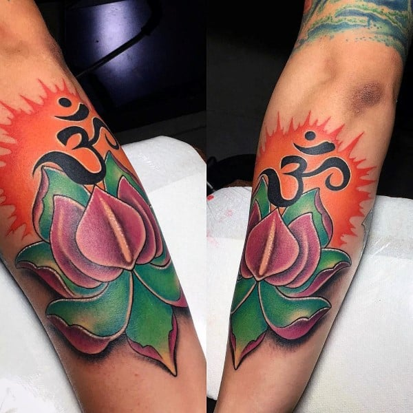 Flower Om Mens Outer Forearm Tattoo Ideas