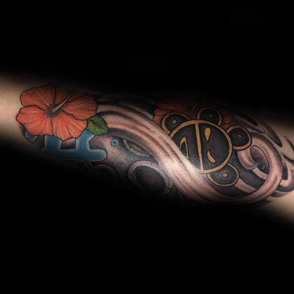 Flower Taino Sun Forearm Tattoo On Man