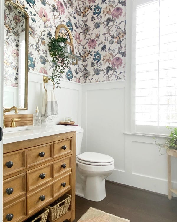 Flower Wallpaper Farmhouse Bathroom Wainscoting Daisyanddaydreams