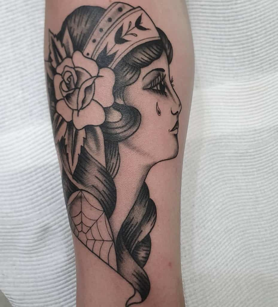 Flower Whip Shading Gypsy Tattoo