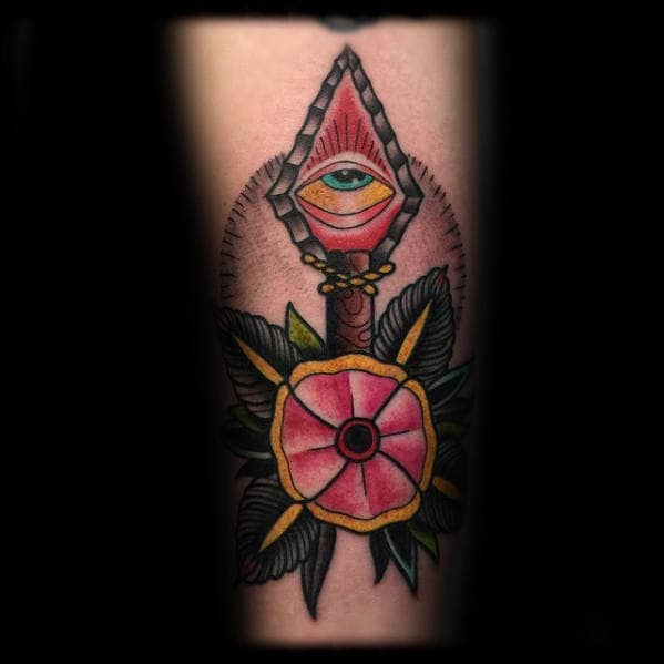 Flower With All Seeing Eye And Arrow Male Traditional Arm Tattoo