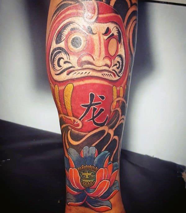 Flower With Daruma Doll Mens Forearm Sleeve Tattoos