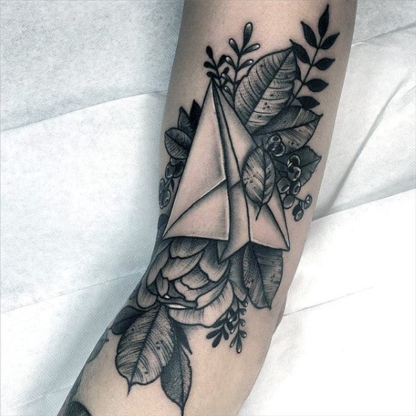 Flower With Leaves Paper Airplane Mens Forearm Tattoo