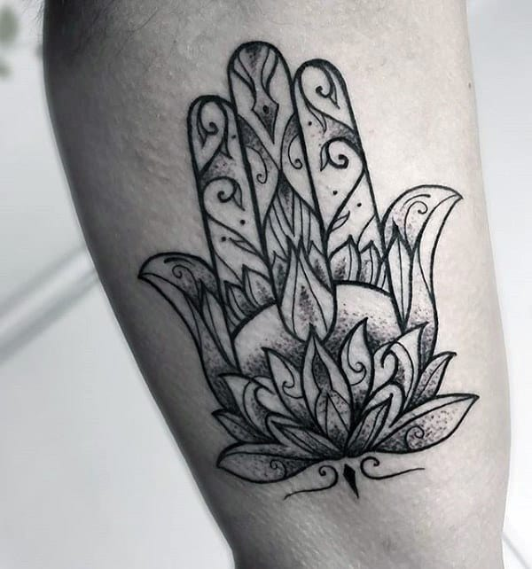 Flower With Ornate Design Hamsa Mens Inner Arm Bicep Tattoos