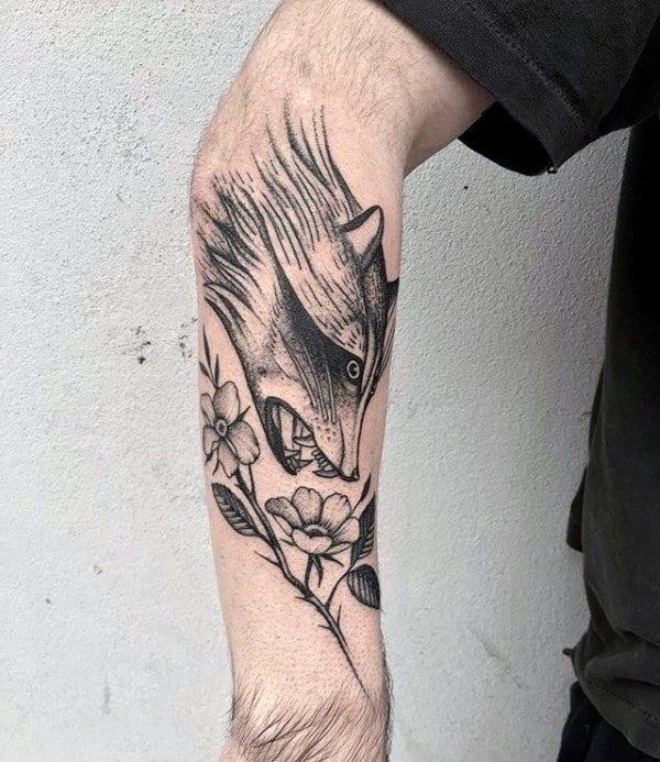 Flower With Raccoonhead Mens Forearm Tattoos