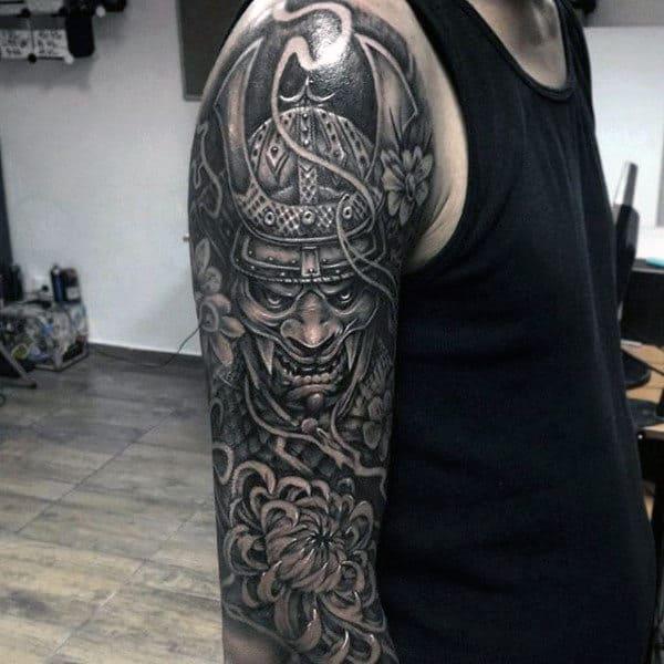 Flower With Samurai Helmet Mens Half Sleeve Shaded Tattoos