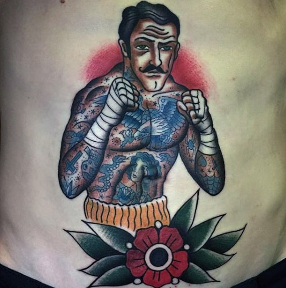 Flower With Traditional Boxer Guys Lower Chest Tattoo