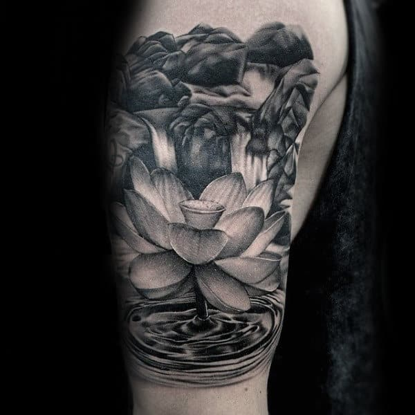 Flower With Water Splashing Waterfall Mens Upper Arm Tattoo