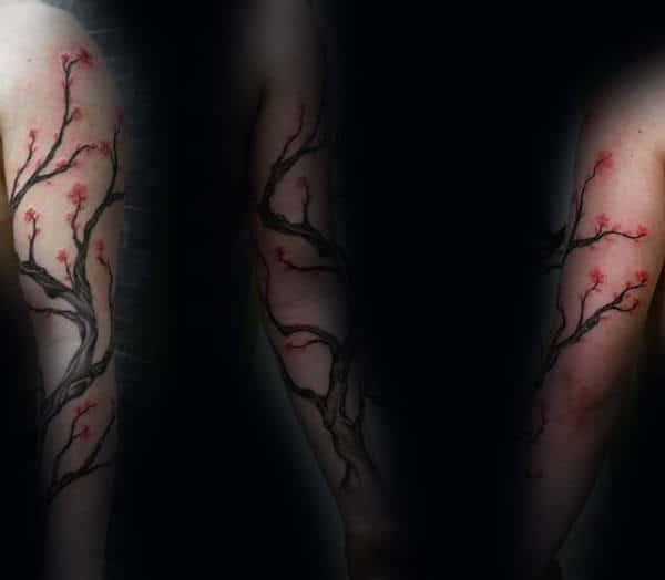 Flowering Bonsai Tree Sleeve Tattoo On Male