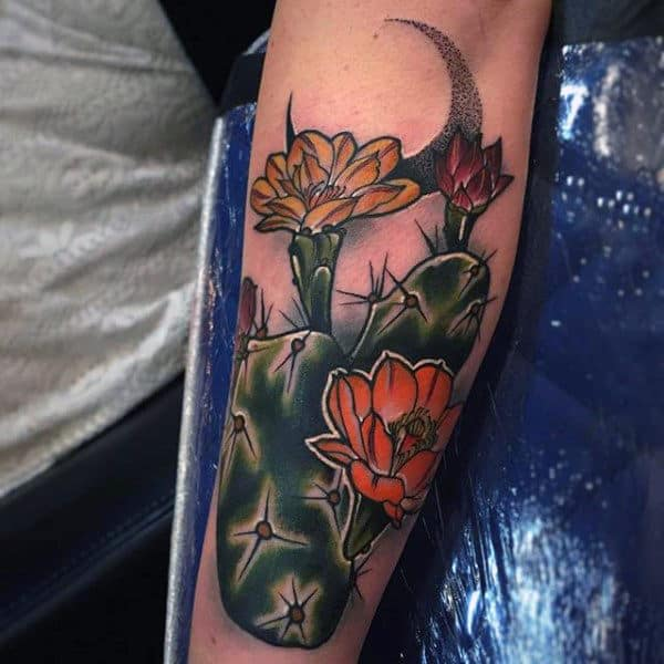 Flowering Cactus Tattoo Design Realistic For Men