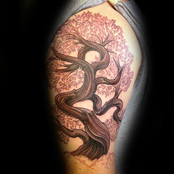 Flowering Cherry Bonsai Tree Upper Arm Tattoos For Males