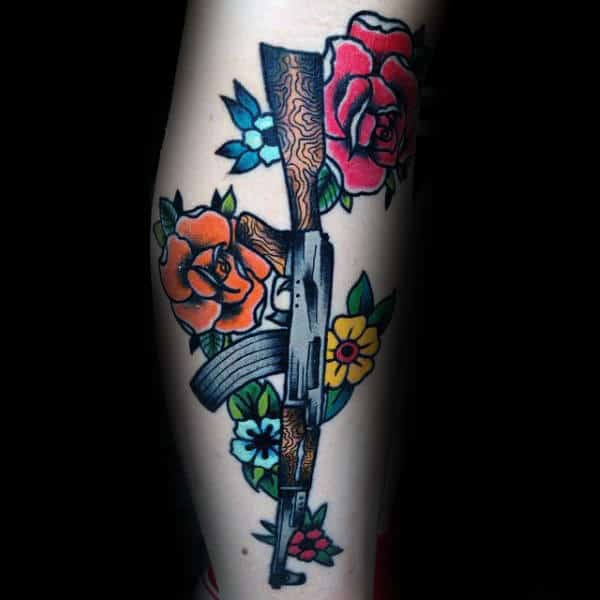 Flowers And Ak 47 Tattoo Male Forearms