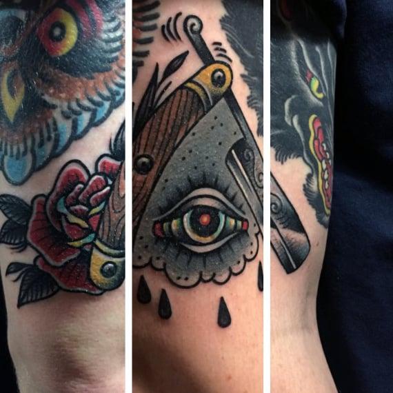 Flores Y Ojo Tatuaje Tradicional Muslos Masculinos