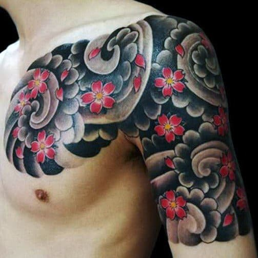 Flowers Blowing In Wind Japanese Cloud Mens Chest And Half Sleeve Tattoo