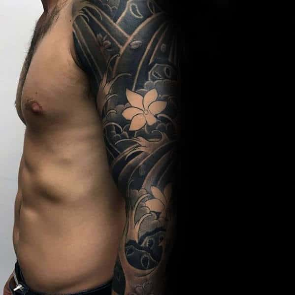 Flowers In Waves Japanese Male Sleeve Tattoo