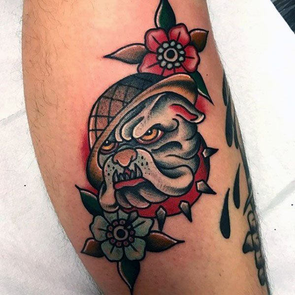 Flowers With Bulldog Masculine Guys Leg Tattoos