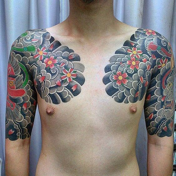 Flowers With Clouds Guys Japanese Half Sleeve And Chest Tattoos