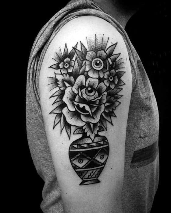 Flowers With Eyes In A Planter Pot Mens Traditional Tattoo On Arm