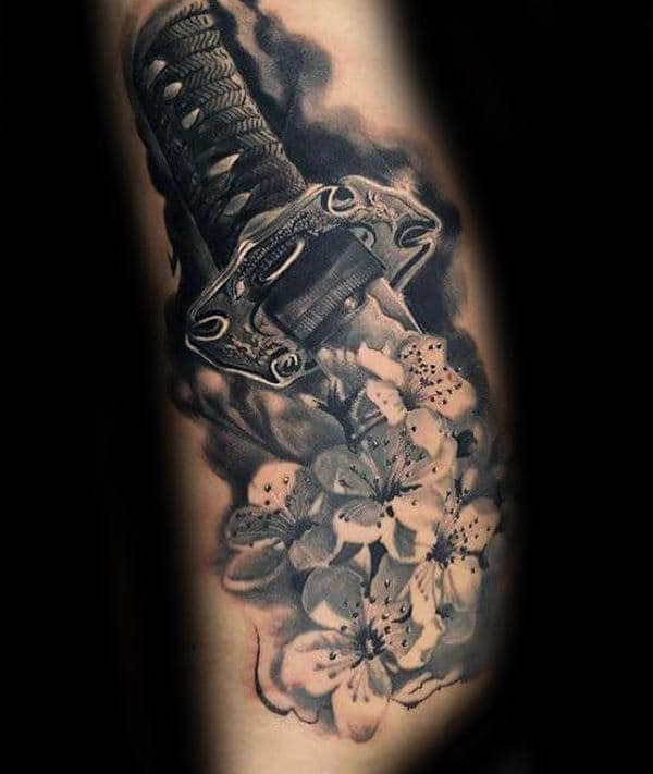 Flowers With Katana Mens 3d Realistic Tattoos On Arm