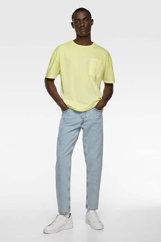 Roomy T-shirt with round Fluorescent T Shirtd neck and short sleeves